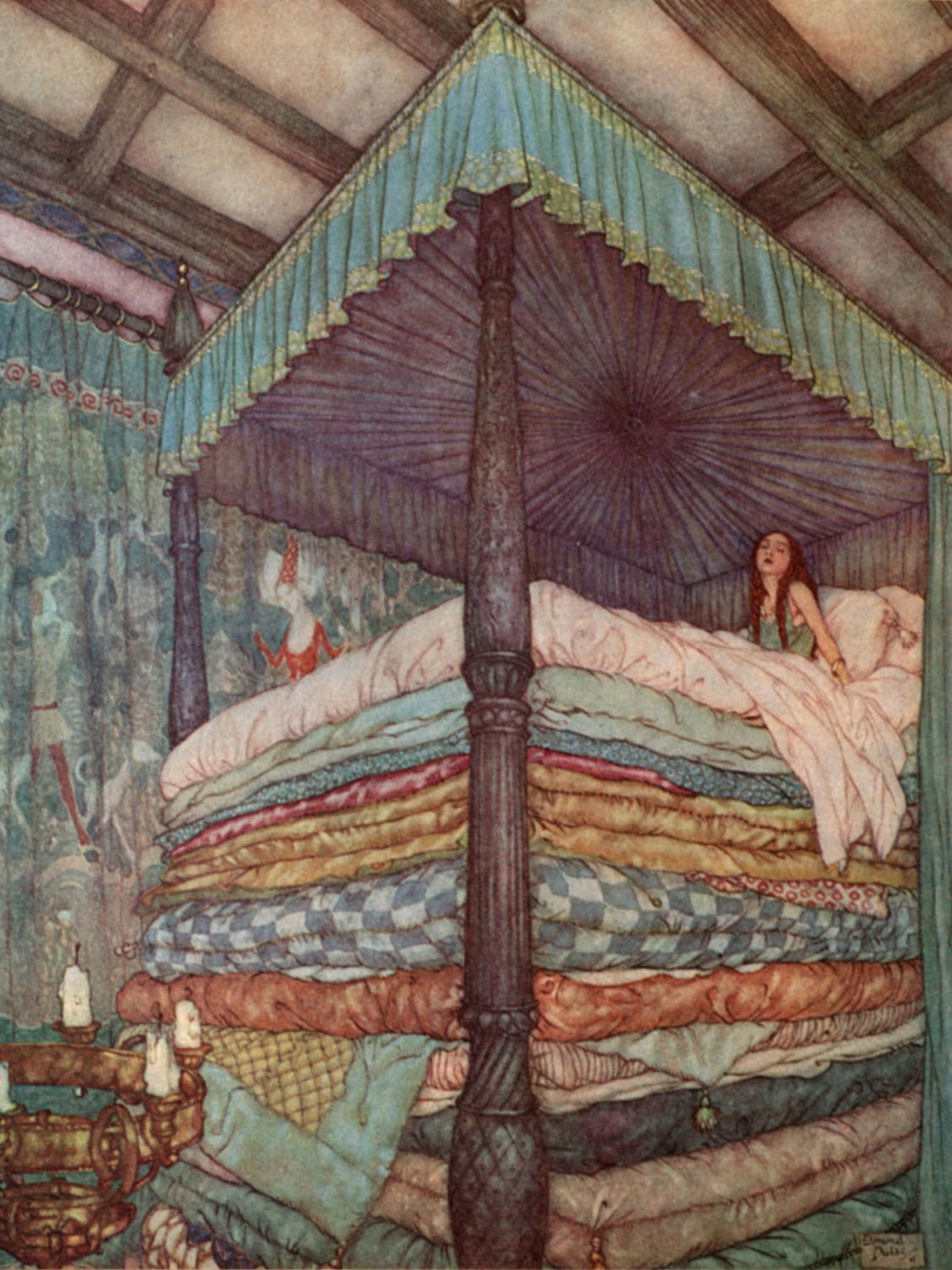 The Princess and Pea, illustration by Edmund Dulac (1911)